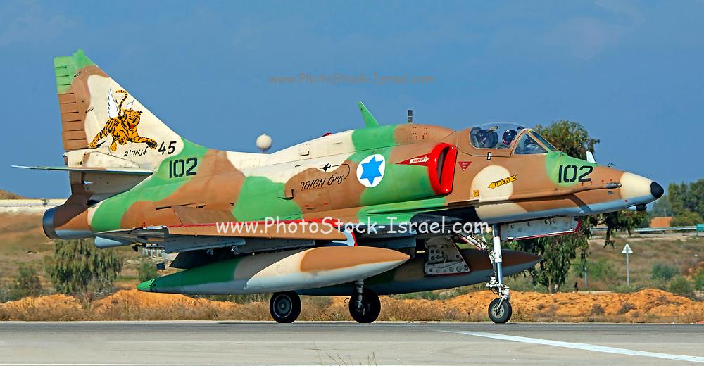 Israeli Air Force (IAF) Mcdonnell-Douglas A-4N Skyhawk (Ayit) fighter jet at takeoff