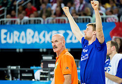 Toon van Helfteren, head coach of Netherlands and Henk Norel of Netherlands during basketball match between Netherlands and Croatia at Day 5 in Group C of FIBA Europe Eurobasket 2015, on September 9, 2015, in Arena Zagreb, Croatia. Photo by Vid Ponikvar / Sportida