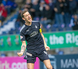 Falkirk's Aaron Muirhead cele scoring their first goal from the penalty spot. Falkirk 3 v 1 Inverness Caledonian Thistle, Scottish Championship game played 27/1/2018 at The Falkirk Stadium.