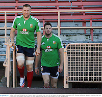 14 June 2013; Jamie Heaslip and Alex Cuthbert, right, British & Irish Lions, arrive for the captain's run ahead of their game against NSW Waratahs on Saturday. British & Irish Lions Tour 2013, Captain's Run, North Sydney Oval, Sydney, New South Wales, Australia. Picture credit: Stephen McCarthy / SPORTSFILE
