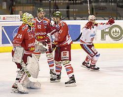 04.10.2015, Eiswelle, Bozen, ITA, EBEL, HCB Suedtirol vs EC KAC, 8. Runde, im Bild v.l. Tormann Jaroslav Huebl (HCB Suedtirol), Matic Podlipnic (HCB Suedtirol), Roland Hofer (HCB Suedtirol), Oliver Setzinger (EC KAC) jubelt nach dem 0:1 durch Thomas Poeck (EC KAC) // during the Erste Bank Icehockey League 8th round match between HCB Suedtirol and EC KAC at the Eiswelle in Bozen, Italy on 2015/10/04. EXPA Pictures © 2015, PhotoCredit: EXPA/ Johann Groder