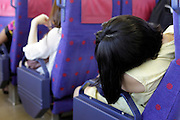 train commuter sleeping