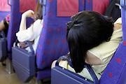 train commuter sleeping