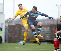 Forfar Athletic's James Lister scoring their second goal past Clyde's keeper John Gibson. Clyde 2 v 2 Forfar Athletic, Scottish League Two game played 4/3/2017 at Clyde's home ground, Broadwood Stadium, Cumbernauld.