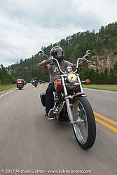 Pauly White of S&S on the Aidan's Ride to raise money for the Aiden Jack Seeger nonprofit foundation to help raise awareness and find a cure for ALD (Adrenoleukodystrophy) during the annual Sturgis Black Hills Motorcycle Rally. Riding between Nemo and Rapid City, SD, USA. Tuesday August 8, 2017. Photography ©2017 Michael Lichter.