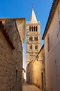 Late Roanesque Bell Tower  of the Cathedral of St Mary the Great (Crkva svete Marije Velike). Rab Island, Craotia .<br /> <br /> Visit our MEDIEVAL PHOTO COLLECTIONS for more   photos  to download or buy as prints https://funkystock.photoshelter.com/gallery-collection/Medieval-Middle-Ages-Historic-Places-Arcaeological-Sites-Pictures-Images-of/C0000B5ZA54_WD0s