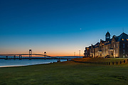 The original building of the Navy War College with the stunning views of the Newport, Pell Bridge, Newport, RI.