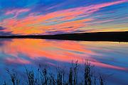 Sunset reflected in pond<br /> Viscount<br /> Saskatchewan<br /> Canada