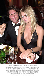 MISS JEMMA KIDD and MR GEORGIO VERONI at a party in London on 26th January 2002.	OWY 35