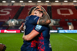 Nathan Hughes and Sam Bedlow of Bristol Bears (who kicked the winning goal) after Bristol Bears win 18-17 with the final penalty kick of the game - Rogan/JMP - 04/12/2020 - RUGBY UNION - Ashton Gate Stadium - Bristol, England - Bristol Bears v Northampton Saints - Gallagher Premiership Rugby.