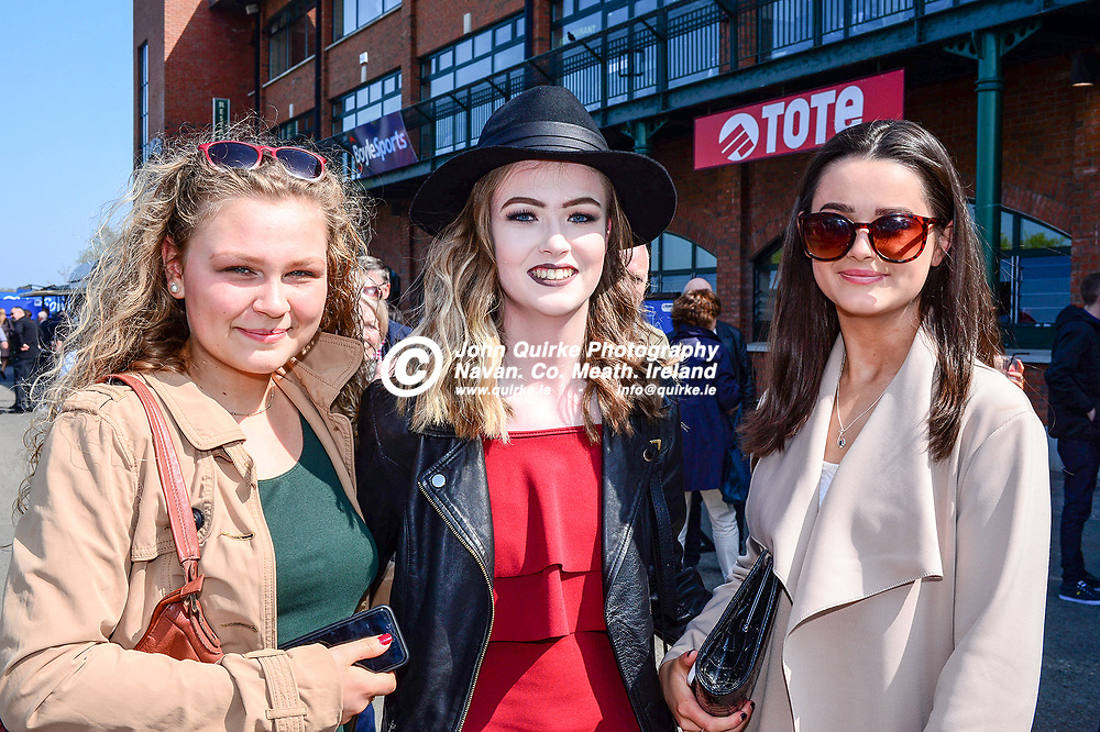 Pictured at  'The Fairyhouse Easter Festival' were from left: Judith BUGK, Aine Usher and Erika Youngson. All Dunboyne.<br /> <br /> Photo: GERRY SHANAHAN-WWW.QUIRKE.IE<br /> <br /> 22-04-2019