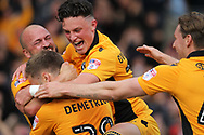 GOAL Mickey Demetriou celebrates his goal 1-0 during the EFL Sky Bet League 2 match between Newport County and Notts County at Rodney Parade, Newport, Wales on 6 May 2017. Photo by Daniel Youngs.