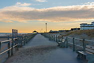 The Spring Lake boardwalk is cold and quiet as dusk falls in winter.