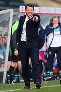 Darren Sarll, the Stevenage manager shouting from the touchline. Skybet football league two match, Wycombe Wanderers  v Stevenage Town at Adams Park  in High Wycombe, Buckinghamshire on Saturday 12th March 2016.<br /> pic by John Patrick Fletcher, Andrew Orchard sports photography.