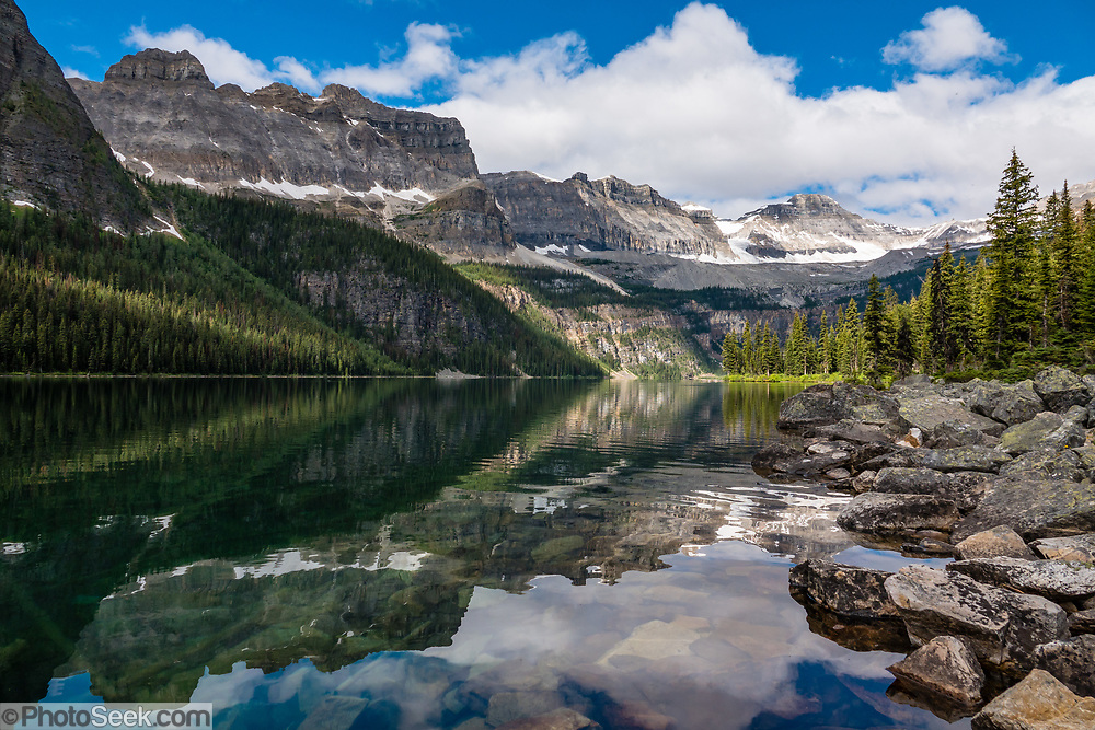 Boom Lake, Banff National Park, Alberta, Canada. This is part of the Canadian Rocky Mountain Parks World Heritage Site declared by UNESCO in 1984.