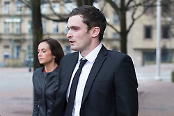 © Licensed to London News Pictures. 29/02/2016. Bradford UK. Adam Johnson leaves Bradford Crown Court today with ex girlfriend Stacey Flounders on the 12th day of his trial. The former Sunderland player is accused of two counts of sexual activity with a 15 year old girl. Photo credit: Andrew McCaren/LNP