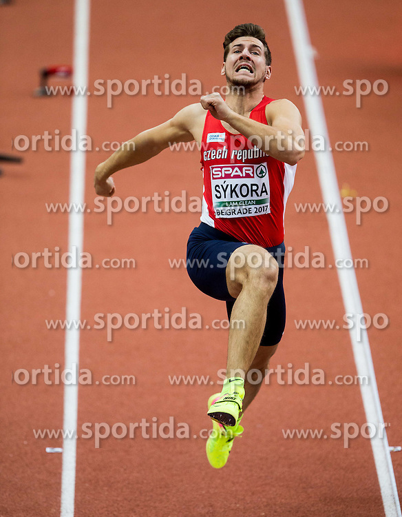Jirí Sýkora of Czech Republic competes in the Heptathlon Long Jump Men on day two of the 2017 European Athletics Indoor Championships at the Kombank Arena on March 4, 2017 in Belgrade, Serbia. Photo by Vid Ponikvar / Sportida
