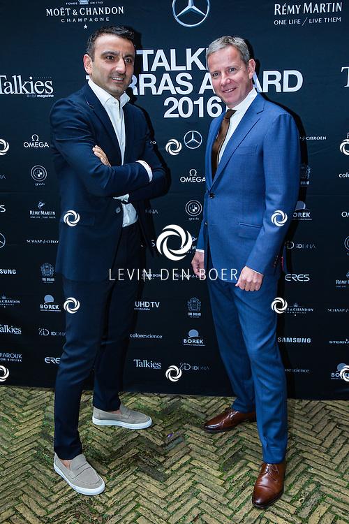 AMSTERDAM - In The Dylan zijn de Talkies Terras Awards uitgereikt voor beste terras 2016. Met hier op de foto Tamer Gonen (L) en René Bornmann (R). FOTO LEVIN & PAULA PHOTOGRAPHY VOF