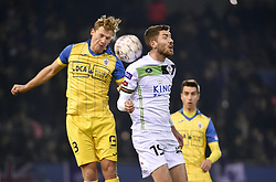 February 17, 2018 - Leuven, BELGIUM - Beerschot's Joren Dom and OHL's Samy Kheli fight for the ball during a soccer game between OH Leuven and KFCO Beerschot Wilrijk, in Heverlee, Leuven, Saturday 17 February 2018, on day 27 of the division 1B Proximus League competition of the Belgian soccer championship. BELGA PHOTO BRUNO FAHY (Credit Image: © Bruno Fahy/Belga via ZUMA Press)