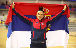 Serbia's Ivana Spanovic celebrates winning the Women's Long Jump during day three of the European Indoor Athletics Championships at the Emirates Arena, Glasgow.