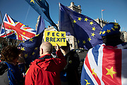 Anti Brexit protesters with European Union and Union Jack flags and a placard reading Feck Brexit protest as Prime Ministers questions is due to start in Westminster outside Parliament on 29th January 2020 in London, England, United Kingdom. With only two days until the UK is due to leave the EU, these will be some of the last protests with the UK as a European nation.