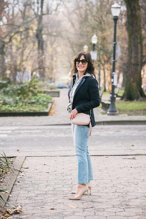 Susie Wright, Portland Fashion Blogger on a wintery day in Portland, Oregon