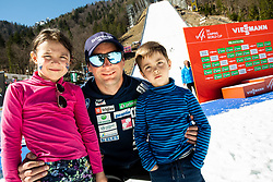Gorazd Bertoncelj, coach of Slovenia posing with his child and nephew after the Ski Flying Hill Individual Competition at Day 4 of FIS Ski Jumping World Cup Final 2019, on March 24, 2019 in Planica, Slovenia. Photo by Vid Ponikvar / Sportida