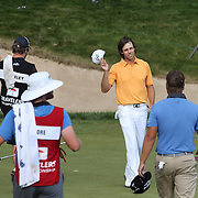 Aaron Baddeley, Australia, after finishing his final round during the final round of the Travelers Championship at the TPC River Highlands, Cromwell, Connecticut, USA. 22nd June 2014. Photo Tim Clayton