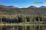 Fly fishing on Sprague Lake in Rocky Mountain National Park, Colorado, USA