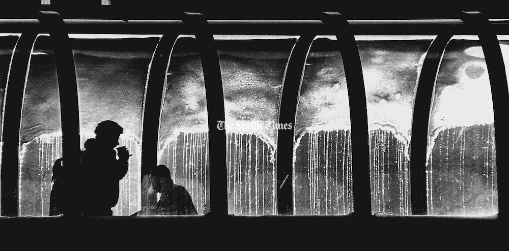 A pedestrian sips a hot beverage as the afternoon sun melts snow on the skybridge across Fourth Avenue and Virginia Street. (Jimi Lott / The Seattle Times, 1989)