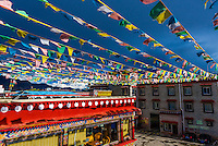 Prayer flags, Manasarovar Hotel, Shigatse (second largest city in Tibet), Tibet (Xizang), China.