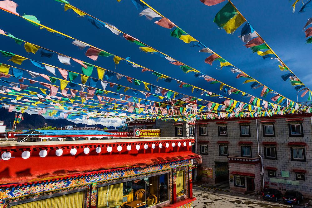 Prayer flags, Manasarovar Hotel, Shigatse (second largest city in Tibet), Tibet (Xizang), China.