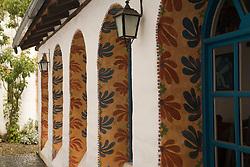 South America, Ecuador, arched windows of Hacienda Cusin, 9km from Otavalo