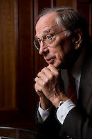 """2008, BERLIN/GERMANY:<br /> Samuel Augustus """"Sam"""" Nunn, US-amerikanischer Geschäftsmann und Politiker der Demokraten, ehem. Senator im US-Senat, waehrend einem Interview, Hotel Adlon<br /> IMAGE: 20080612-01-016"""