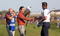Team Europe's Francesco Molinari celebrates victory on the 14th during the Foursomes match on day two of the Ryder Cup at Le Golf National, Saint-Quentin-en-Yvelines, Paris. PRESS ASSOCIATION Photo. Picture date: Saturday September 29, 2018. See PA story GOLF Ryder. Photo credit should read: Gareth Fuller/PA Wire. RESTRICTIONS: Use subject to restrictions. Written editorial use only. No commercial use.