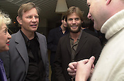 Pat York, Michael York and Casper Van Dien Talk pre-Golden Globes party. Mondrian Hotel. West Hollywood, California USA 20 January 2001. © Copyright Photograph by Dafydd Jones 66 Stockwell Park Rd. London SW9 0DA Tel 020 7733 0108 www.dafjones.com
