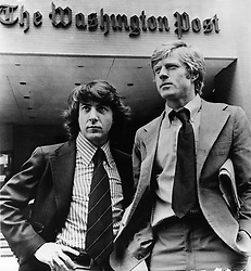 Aug. 5, 2013 - FILE -The Washington Post Co. agreed Monday to sell its newspaper to Amazon.com founder and chief executive Jeffrey P. Bezos for 250 million Dollars, ending the Graham family's ownership of one of America's leading news organizations after four generations. PICTURED: Feb. 2, 1976 - Washington D.C., U.S. - Actors DUSTIN HOFFMAN and ROBERT REDFORD outside the Washington Post, as they co-star in a scene from the film, 'All the President's Men.' (Credit Image: © KEYSTONE Pictures USA/ZUMAPRESS.com)
