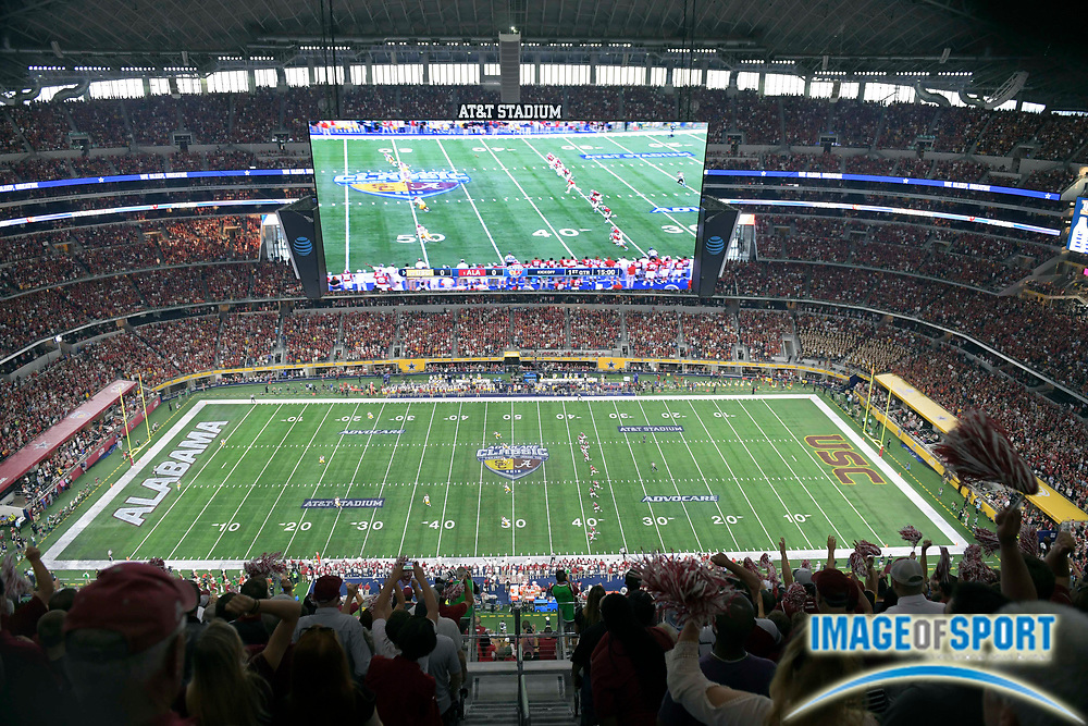 Sep 3, 2016; Arlington, TX, USA; General view of the opening kickoff of the game between the Alabama Crimson Tide and USC Trojans at AT&T Stadium.