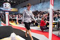 07 DEC 2018, HAMBURG/GERMANY:<br /> Annegret Kramp-Karrenbauer, CDU Generalsekretaerin und soeben gewaehlte Kandidatin fuer das Amt der Parteivorsitzenden der CDU, auf dem Weg zur Buehne, vor Ihrer Bewerbungsrede, CDU Bundesparteitag, Messe Hamburg<br /> IMAGE: 20181207-01-100<br /> KEYWORDS: party congress