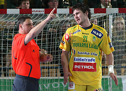 Referee and Mirsad Terzic during the 1st round of EHL Champions League match between RK Celje Pivovarna Lasko (SLO) and Rhein Neckar Lowen (GER), on February 14, 2009, in Arena Zlatorog, Celje, Slovenia. Rhein Neckar Lowen won 34:28.  (Photo by Vid Ponikvar / Sportida)
