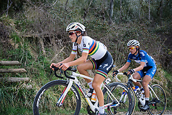 Lizzie Armitstead approaches the steepest part of the final gravel climb - 2016 Strade Bianche - Elite Women, a 121km road race from Siena to Piazza del Campo on March 5, 2016 in Tuscany, Italy.