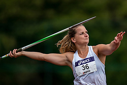 Danien ten Berge in action on the javelin throw section during the Dutch Athletics Championships (NK) on the athletics track Maarschalkerweerd on 30 August 2020 in Utrecht.