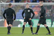 Match officials Martin Atkinson, Lee Betts and Harry Lennard during the The FA Cup 3rd round match between Crystal Palace and Grimsby Town FC at Selhurst Park, London, England on 5 January 2019.