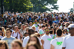 London, August 27 2017. Crowds build up on Ladbroke Grove as Family Day of the Notting Hill Carnival gets underway. The Notting Hill Carnival is Europe's biggest street party held over two days of the bank holiday weekend, attracting over a million people. © Paul Davey.