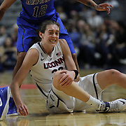 Breanna Stewart, UConn, takes a knock during the UConn Vs DePaul, NCAA Women's College basketball game at Webster Bank Arena, Bridgeport, Connecticut, USA. 19th December 2014