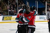 KELOWNA, BC - SEPTEMBER 28:  Jake Lee #21 of the Kelowna Rockets celebrates his first regular season goal against the Everett Silvertips at Prospera Place on September 28, 2019 in Kelowna, Canada. (Photo by Marissa Baecker/Shoot the Breeze)