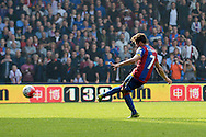 Yohan Cabaye of Crystal Palace scores his teams 2nd goal of the match to make it team 2-0 from a penalty. Barclays Premier League match, Crystal Palace v West Bromwich Albion at Selhurst Park in London on Saturday 3rd October 2015.<br /> pic by John Patrick Fletcher, Andrew Orchard sports photography.