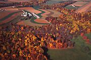 Aerial, autumn trees, Chester Co., Pennsylvania, farmland Aerial Photograph Pennsylvania