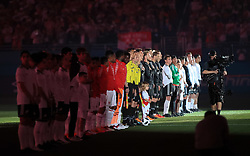 March 23, 2018 - Miami Gardens, Florida, USA - A view of the teams lined up during the opening ceremony of a FIFA World Cup 2018 preparation match between the Peru National Soccer Team and the Croatia National Soccer Team at the Hard Rock Stadium in Miami Gardens, Florida. (Credit Image: © Mario Houben via ZUMA Wire)