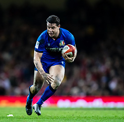 Luca Morisi of Italy<br /> <br /> Photographer Simon King/Replay Images<br /> <br /> Six Nations Round 1 - Wales v Italy - Saturday 1st February 2020 - Principality Stadium - Cardiff<br /> <br /> World Copyright © Replay Images . All rights reserved. info@replayimages.co.uk - http://replayimages.co.uk